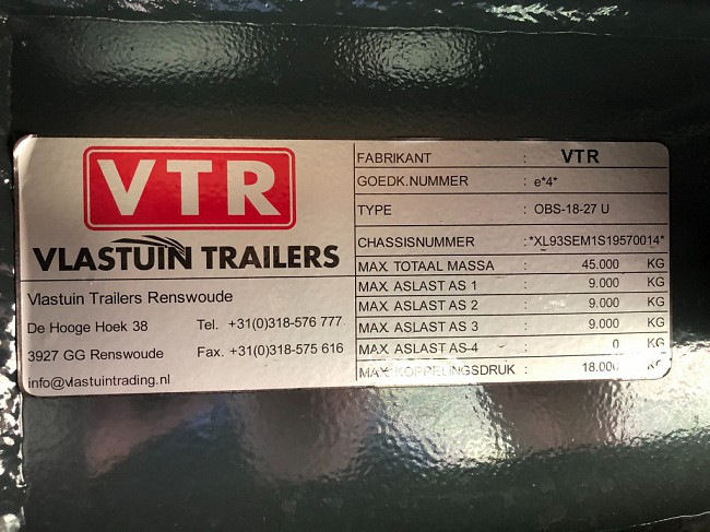 2020 VTR OBS-18-27-HU Extandable Lift-Axle Semi Dieplader